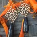 Florentine style hangers with lapis lazuli teardrop beads.