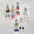 Long glass bead wire wrapped earrings , Clear White Black Purple Blue Red Green