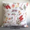 Native Australian mixed flora cotton drill cushion cover