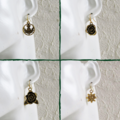 Antique style Gold colour flower charm drop earrings , Daisy Rose Thistle Plum