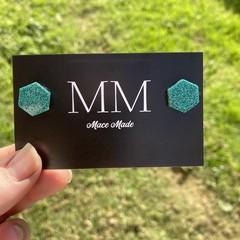 Turquoise Glitter Hexagon Resin Stud Earrings