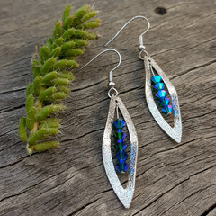 Disco Blue Crystals in a Leaf  - Earrings