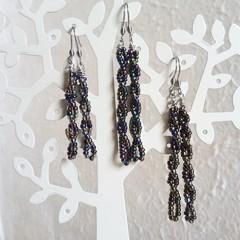 Unique Modern seed bead spiral bar drop earrings , Metallic Rainbow Dark mix