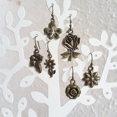 Antique Gold colour flower charm drop earrings , Rose Daisy Bellflower