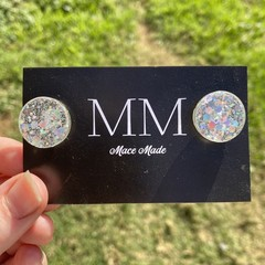 Chunky Glitter Circular Resin Stud Earrings