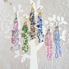 Long colourful spiral seed bead bar dangling earrings , Rainbow Blue Pink Green