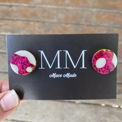 Pink and White Circular Resin Stud Earrings