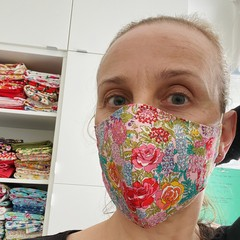 Cotton Face Mask ~ Floral Garden ~ 3 layers