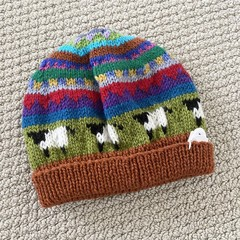Rust sheep Beanie - to fit approx size 1-3 years -hand knitted