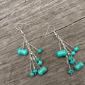 Turquoise  mixed-bead earrings