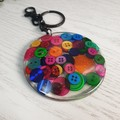Resin Keyring - Multi Coloured Rainbow - Bag Tag