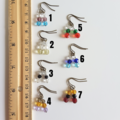 Dainty Vintage style Short glass bead drop earrings , Clear Red Blue Green Black