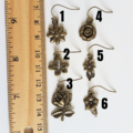 Antique Gold colour flower charm drop earrings , Rose Daisy Bellflower