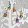 Dainty Boho small glass bead short drop earrings , Blue Red Yellow Green Purple