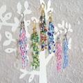 Long colourful spiral seed bead bar dangling earrings , Rainbow Blue Pink Green