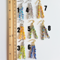 Seed bead spiral bar drop earrings , Rainbow Blue Green Orange White Sea glass