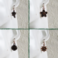 Antique red copper colour flower charm drop earrings , Rose Bellflower Daisy