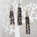 Unique Modern seed bead spiral bar drop earrings , Metallic Rainbow Dark mix