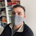 Cotton Face Mask ~ Grey/White denim look ~ 3 layers