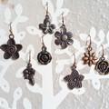 Antique red copper colour flower charm drop earrings , Rose Bellflower Daisy