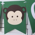 Jungle Zoo Safari CUSTOM Name banner. Wild One party, Personalised party decor.