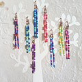 Dainty Colourful Seed bead bar drop earrings , Blue Yellow Green Red Purple Pink