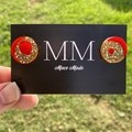 Gold and Red Circular Resin Stud Earrings