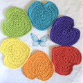Set of Six 'Hearts of Hope and Joy' Hand Crocheted Coasters