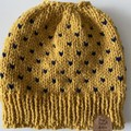 Knitted mustard messy bun beanie navy  fair isle