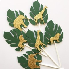 Safari Animal Cupcake Toppers. Green leaf, jungle or zoo party, gold animals.