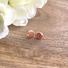 Polymer Clay Stud Earrings - pastel peach with rose gold foil