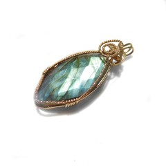Labradorite pendant, teardrop 14k gold filled wire wrapped
