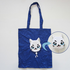 Reusable Foldable Shopping Market Bag with White Cat Face Pouch