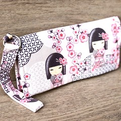 Ladies Fabric Wallet/Clutch - Cherry Blossoms