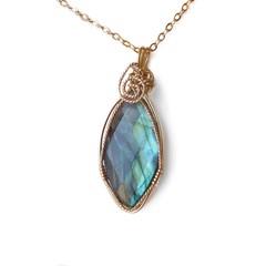 Labradorite pendant, teardrop 14k gold filled wire wrapped