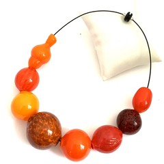 'Sunset fire' necklace - hand blown one-of-a-kind glass bead necklace