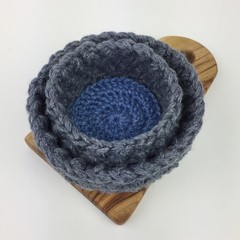 Two Crochet Trinket Basket | Charcoal | Blue | Hand Crocheted | Wool | Bamboo