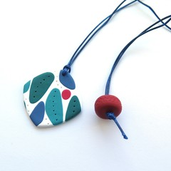 Mid Century Pendant Polymer Clay Necklace