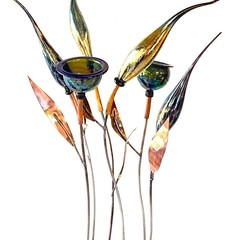 'For Nature's Sake' glass and metal  flower stakes