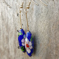 Blue Floral Dangle Earrings