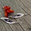 Silver Leaf with Purple/Clear Swarovski crystals