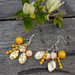 Earthy Yellow Cluster Earrings