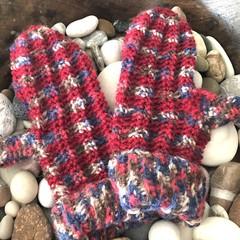 Crochet Mittens - Mottled Red