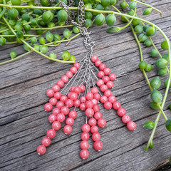 Pink Stone Cluster Necklace