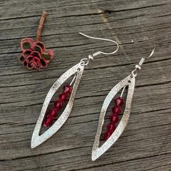 Silver Leaf with Pink Crimson Swarovski crystals