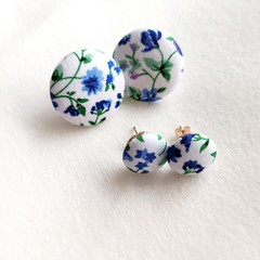 Cute flower fabric button stud statement earrings