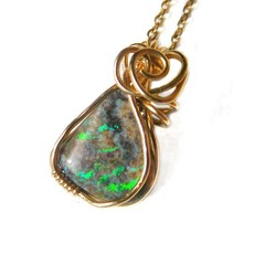 Andamooka opal pendant 14k gold filled wire wrapped