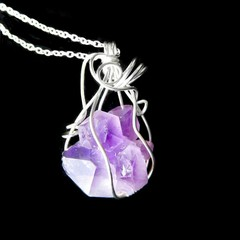 Raw Quartz Amethyst Sterling wrapped pendant