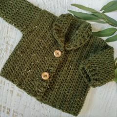 Dark Green Tweed Hand Crocheted Baby Grandpa Cardigan 0-3 months
