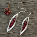 Silver Leaf with Pink Crimson Swarovski crystals